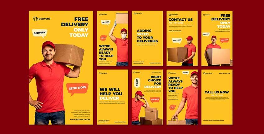 دانلود قالب استوری اینستاگرام ارسال کالا delivery