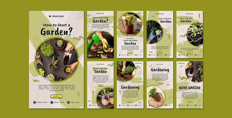 دانلود قالب استوری اینستاگرام باغبانی gardening