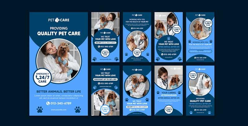 دانلود قالب استوری اینستاگرام دامپزشکی quality pet