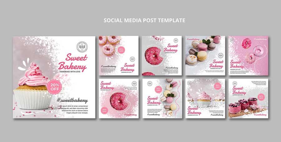 دانلود قالب پست اینستاگرام شیرینی فروشی confectionery
