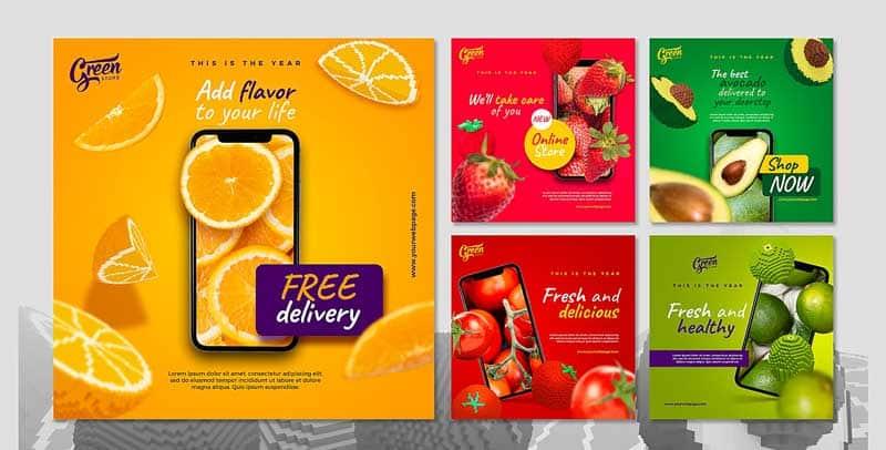 دانلود قالب پست اینستاگرام آب میوه فروشی