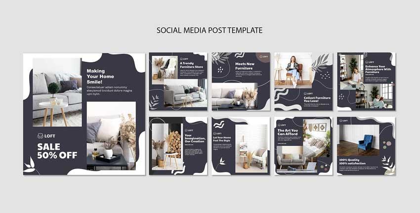 دانلود قالب پست اینستاگرام پیج طراحی داخلی