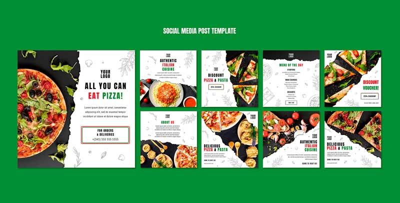 دانلود قالب پست اینستاگرام پیتزا فروشی pizza