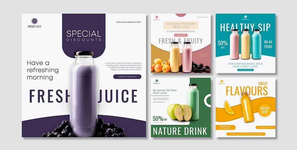 دانلود قالب پست اینستاگرام فروش آب میوه
