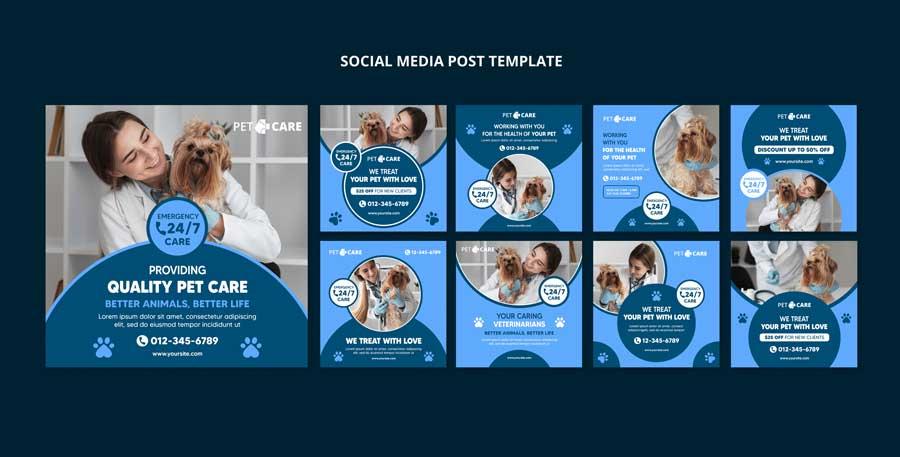 دانلود قالب پست اینستاگرام دامپزشکی Veterinary
