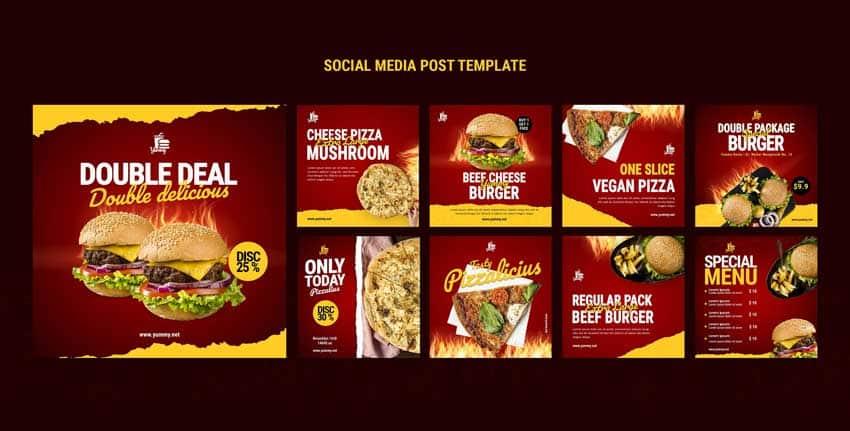 دانلود قالب پست اینستاگرام فست فود fast foods