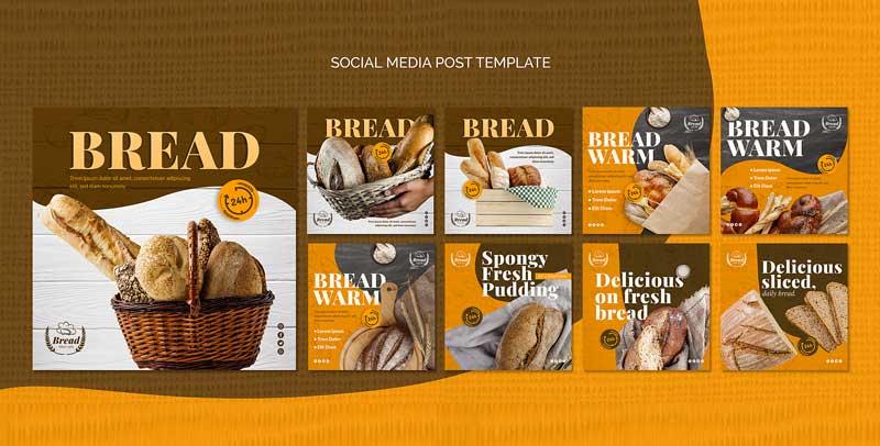 دانلود قالب پست اینستاگرام فروش نان