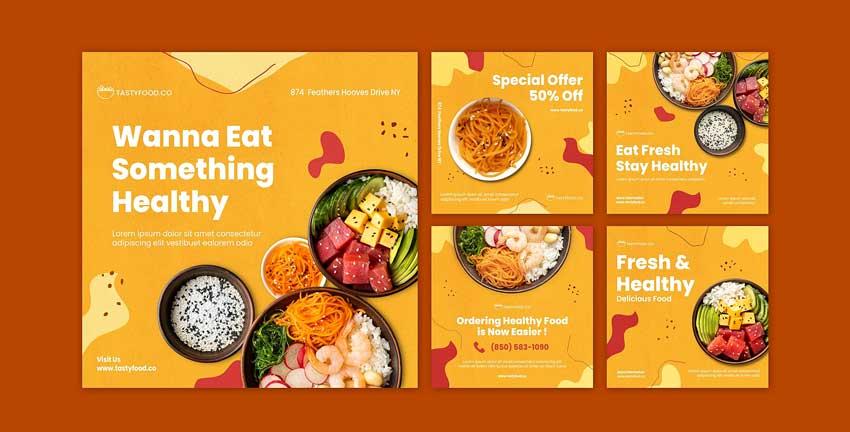 دانلود قالب پست اینستاگرام غذا خوری food