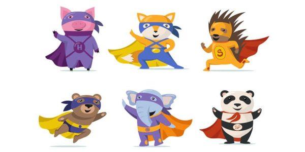 دانلود وکتور حیوانات Funny superhero animals flat