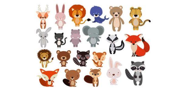 دانلود وکتور حیوانات animals set flat style