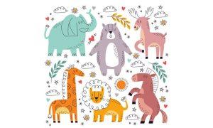 دانلود وکتور حیوانات cute cartoon animal collection