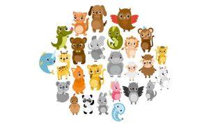 دانلود وکتور حیوانات cute zoo animals03
