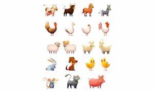 دانلود وکتور حیوانات farm animals cartoon icons set