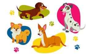دانلود وکتور حیوانات flat cute dog collection2