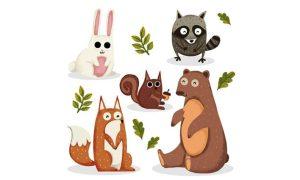 دانلود وکتور حیوانات hand drawn forest02