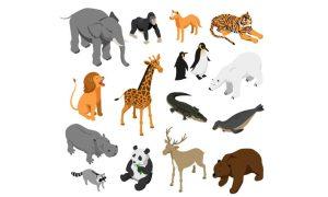 دانلود وکتور حیوانات herbivorous predatory zoo